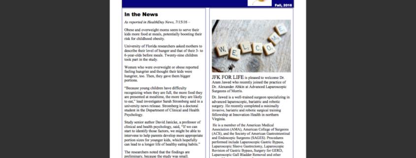 Support Group Newsletter Screenshot